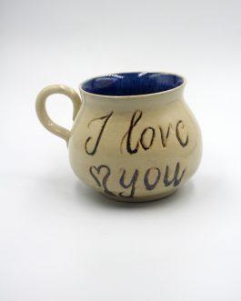 """Ceramiczny Kubek Z Kaligrafią 350 ml """"I Love You"""" z Magicznym środkiem"""