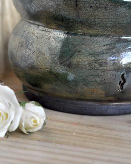 Ceramiczny Szmaragdowy Wazon Raku